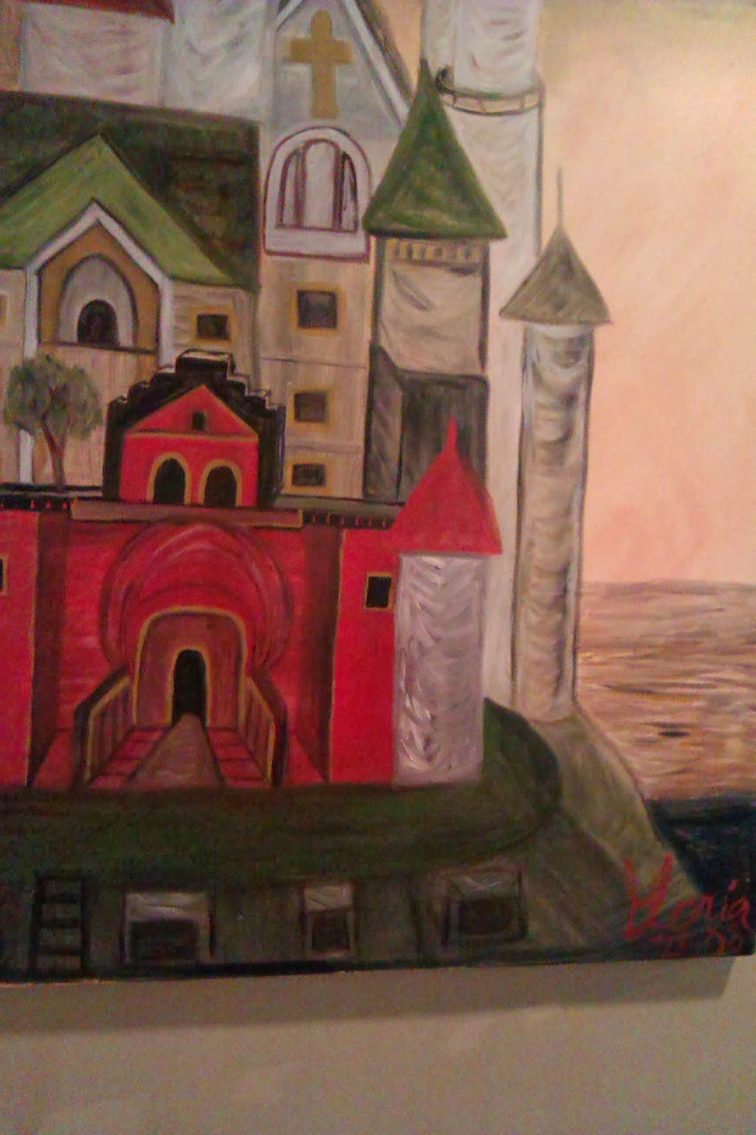"""The Schloss"" oil painting by Gloria Poole; year 2008; 6 ft x 4 ft ; on canvas"