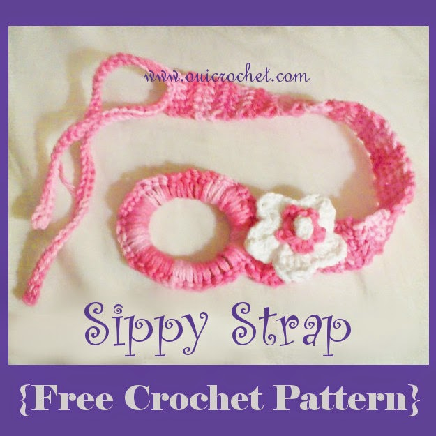 Crochet, Free Crochet Pattern, Sippy Strap, Crochet Sippy Strap, DIY Sippy Cup Strap, How to Crochet Around A Ponytail Elastic,