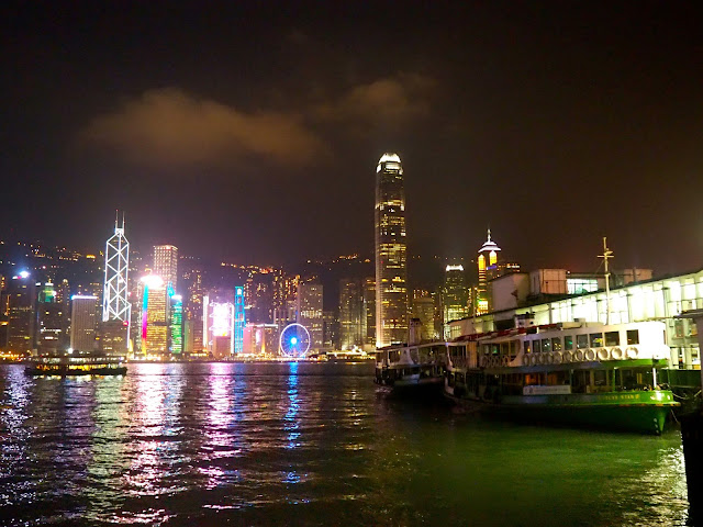 Star Ferry and Hong Kong skyline at night