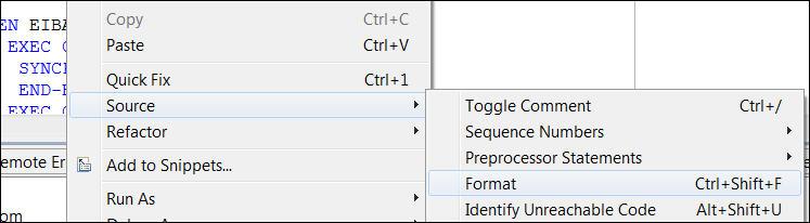 cobol source code formatting