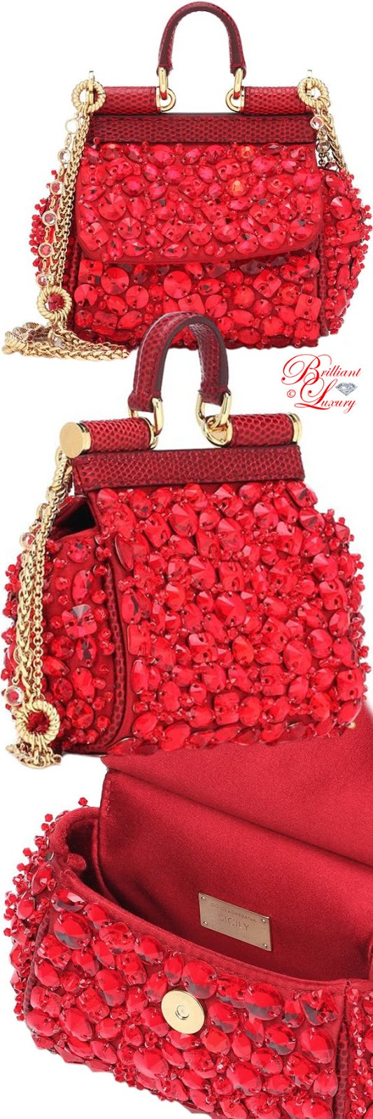 Brilliant Luxury ♦ PANTONE Fashion Color SS 2019 ~ Fiesta ♦ Dolce & Gabbana micro Siciliy embellished shoulder bag #red