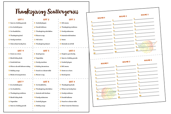 photograph about Printable Scattergories identified as Meredith Performs: Thanksgiving Printable Video games