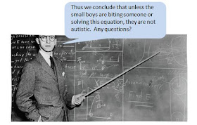 "1940s male teacher at a blackboard, using a cane to point to an equation. Caption reads, ""Thus we conclude that unless the small boys are biting someone or solving this equation, they are not autistic. Any questions?"""