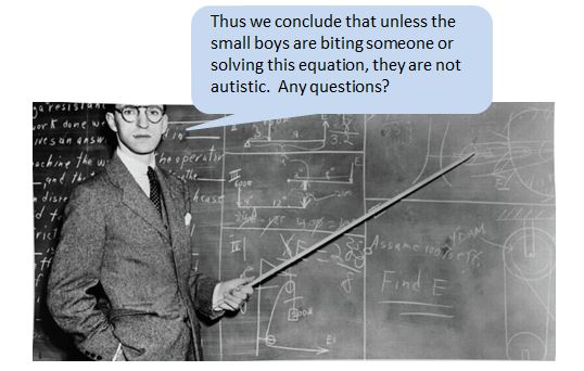 """1940s male teacher at a blackboard, using a cane to point to an equation. Caption reads, """"Thus we conclude that unless the small boys are biting someone or solving this equation, they are not autistic. Any questions?"""""""