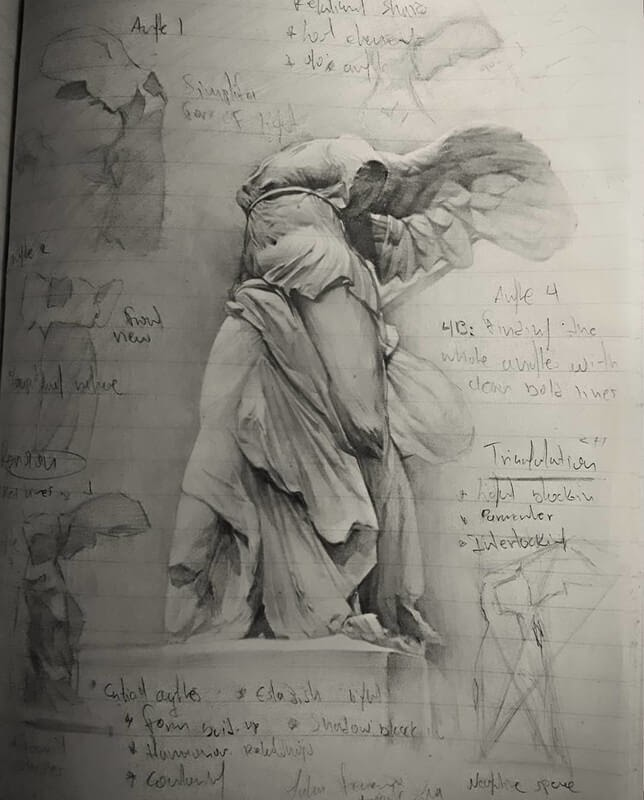 03-Winged-Victory-John-Fenerov-Charcoal-and-Graphite-Portraits-on-Paper-www-designstack-co