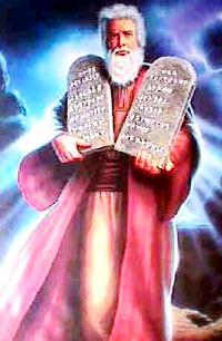 Dibujo de Moisés con los 10 Mandamientos en la mano
