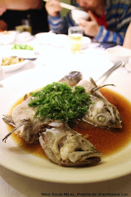Live-steamed seasonal fish with scallion in soy sauce 葱油活魚 at 欣葉 in Taiwan