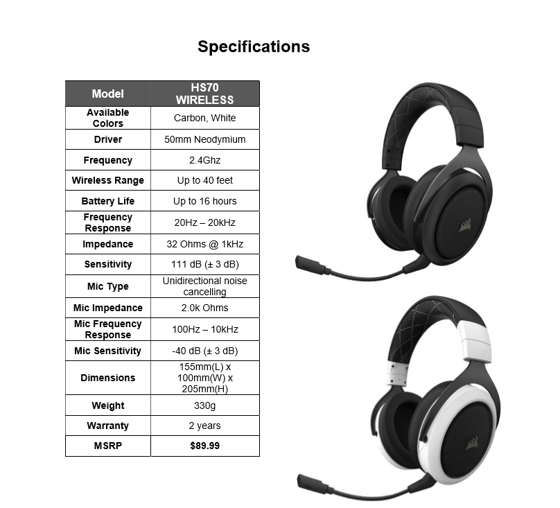 Corsair HS70 Wireless Gaming Headset Review ~ Computers and