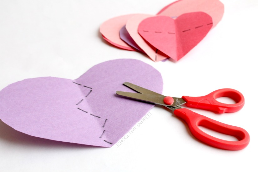 scissor skills fine motor skills practice for Valentine's Day
