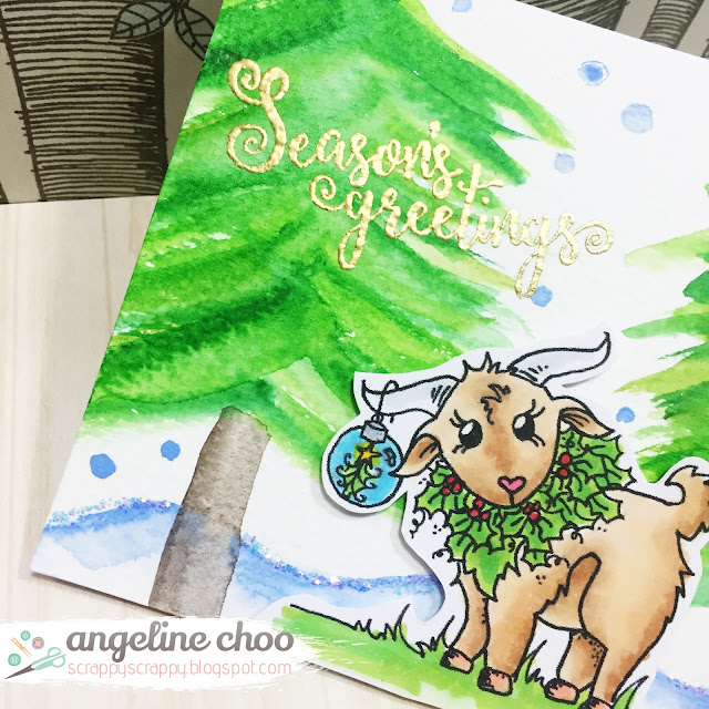 ScrappyScrappy: Christmas in July with JLO Stamps - Christmas Goat #scrappyscrappy #JLOstamps #stamp #christmas #card #cardmaking #watercolor #gansaitambi #copic #unitystampco