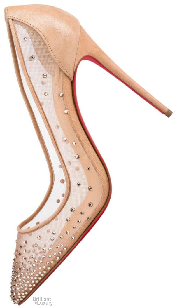 Brilliant Luxury♦Christian Louboutin Follies Strass Suede Lame Stiletto Pump