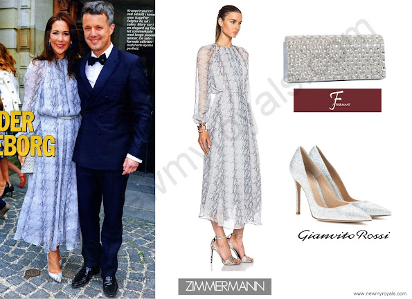 The Crown Princess wore a Zimmermann Seer Snake Dress, J Furmani Stone Flap Clutch with Gianvito Rossi Crackled Metallic Leather Point Toe Pumps.