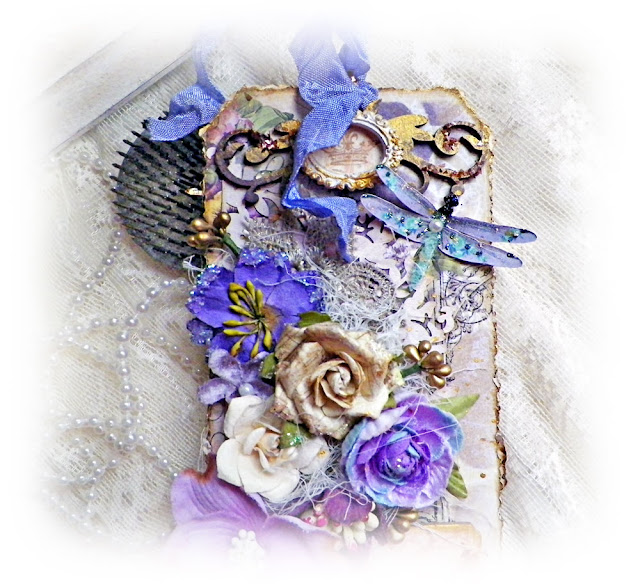 Scraps of Elegance scrapbook kits: Lisa Novogrodski created this lavender shabby chic dragonfly tag with our Lisa's Sweet September Kit.Find our kits here: www.scrapsofdarkness.com