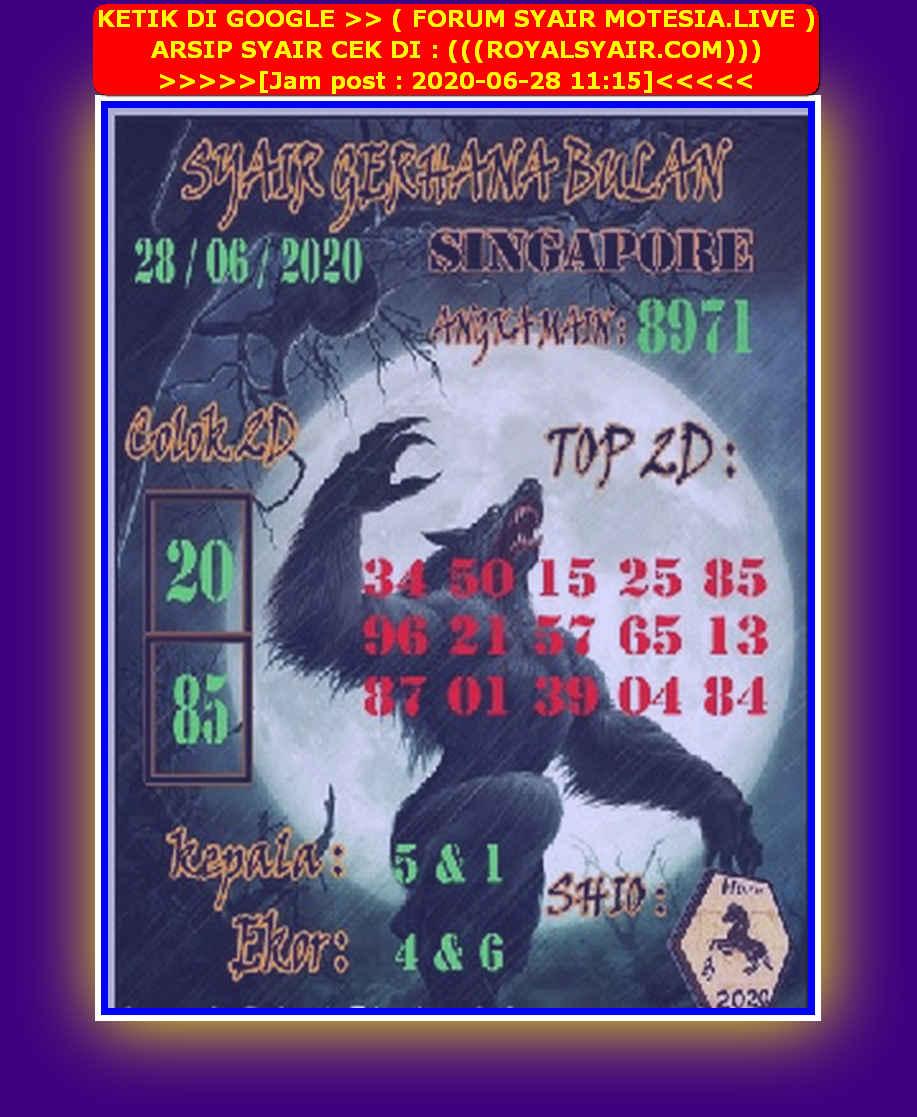 Kode syair Singapore Minggu 28 Juni 2020 116