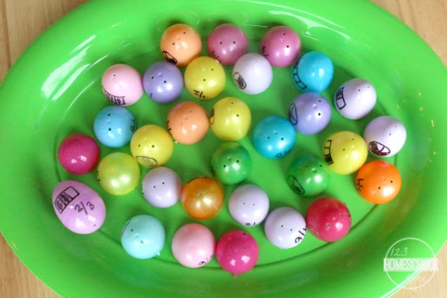 write fractions on plastic easter eggs to make a fun fractions game