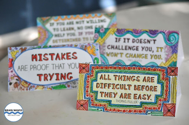 Check out this FREE growth mindset activity! Students create doodle desk cards with growth mindset quotes. They can leave the desk cards on their desks for inspiration all year long!