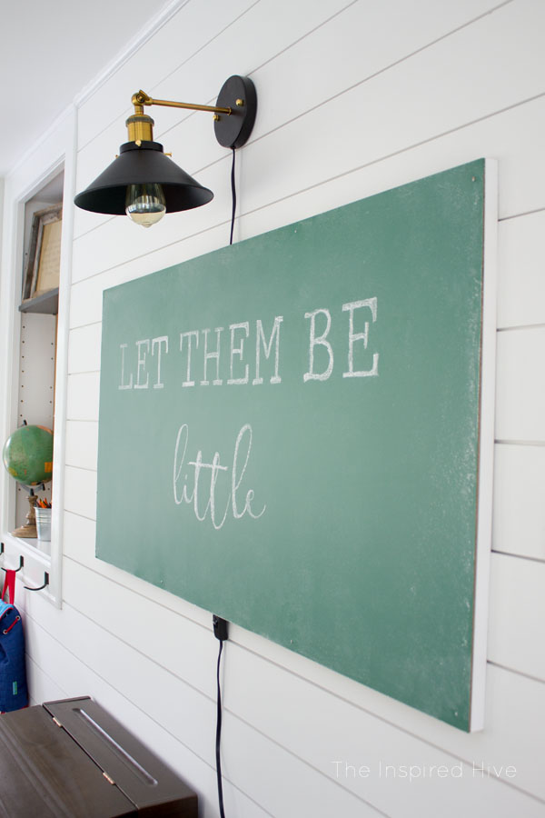 DIY Floating chalkboard for a modern farmhouse playroom