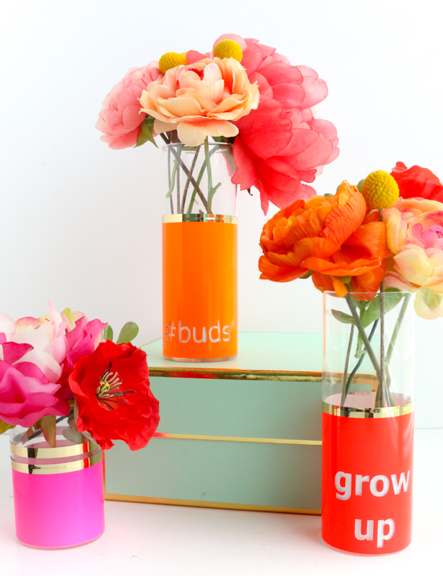 DIY your own neon and gold bud vases - flower vases using adhesive vinyl and the Silhouette Cameo - Easy home decor - diy decor - typography bud vase - gold vinyl - neon home decor