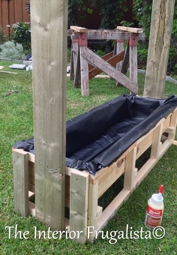 Attaching uprights to the base of DIY Outdoor Water Wall