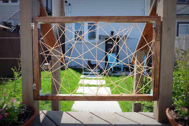 dog gate deck pine paracord string lift off