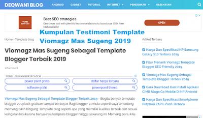 kumpulan testimoni viomagz blogger template