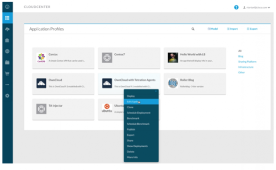 Cisco CloudCenter editor and the Tetration Injector service