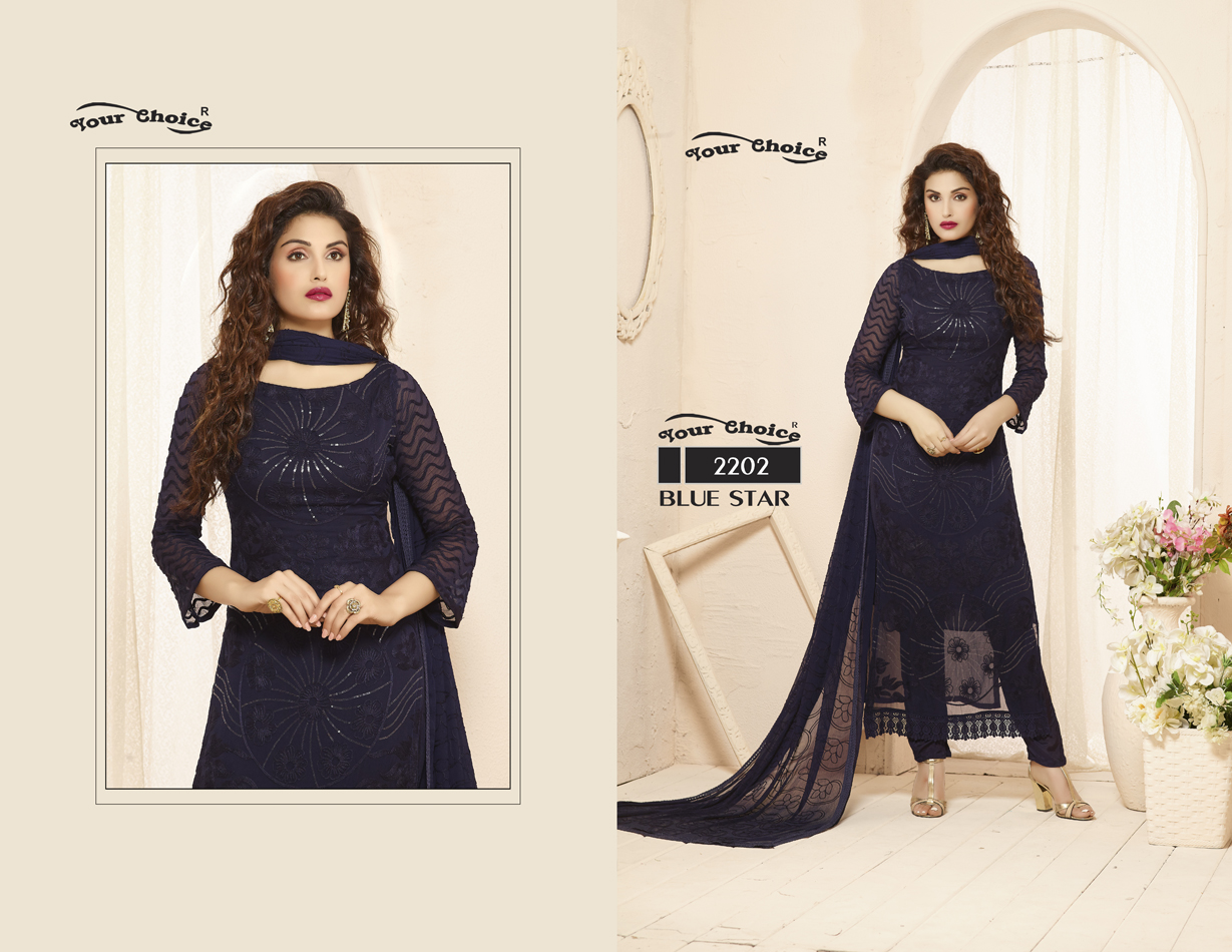 BLUE STAR-Gorgeous Looking Pure Chifon Salwar Suit
