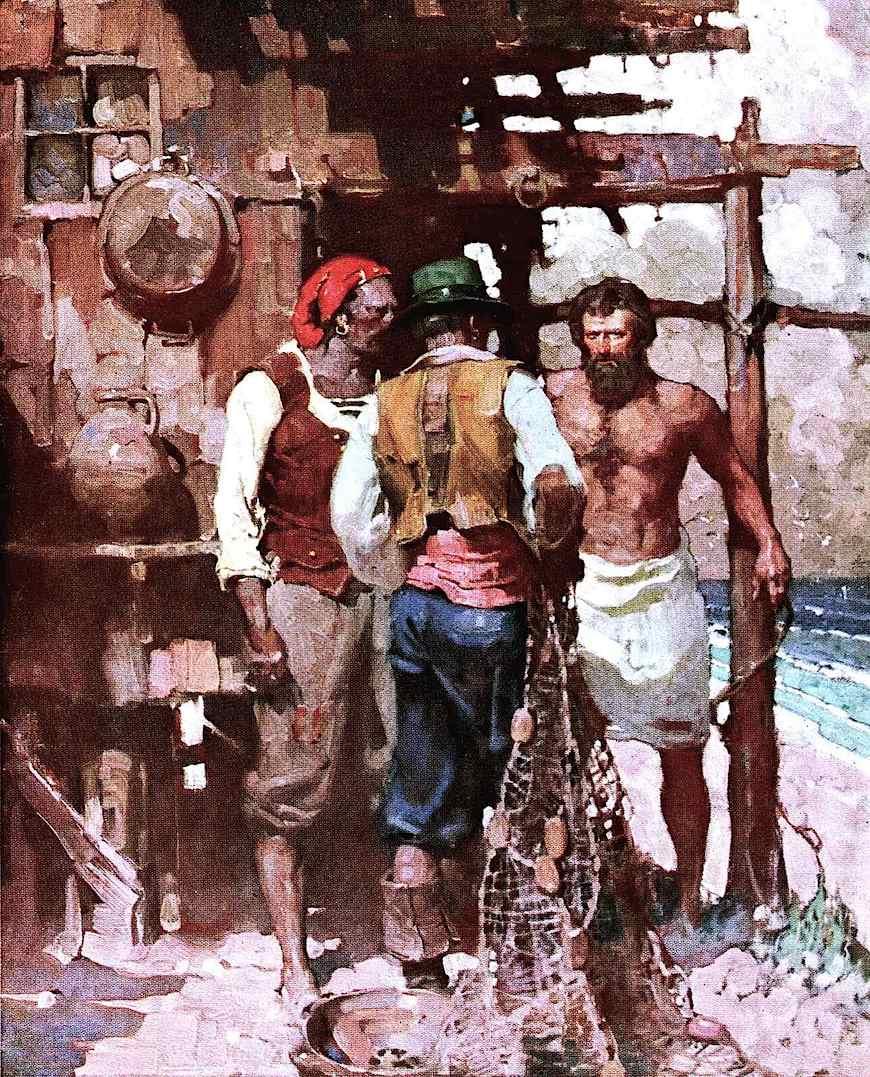 a Mead Schaeffer book illustration 0f three rough men talking