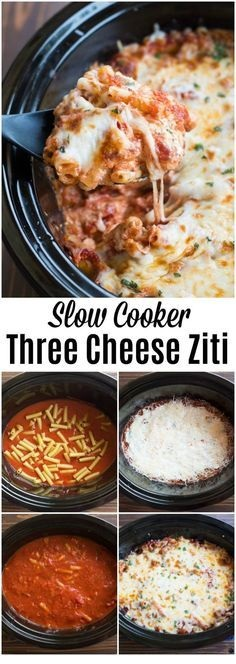 CROCKPOT RECIPES   Slow Cooker Three Cheese Ziti
