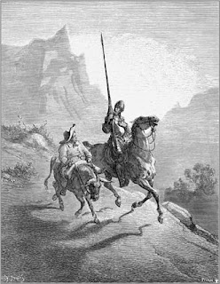 Ο Δον Κιχώτης και ο βοηθός του, Σάντσο Πάντσα, σε εικονογράφηση του Ντορέ