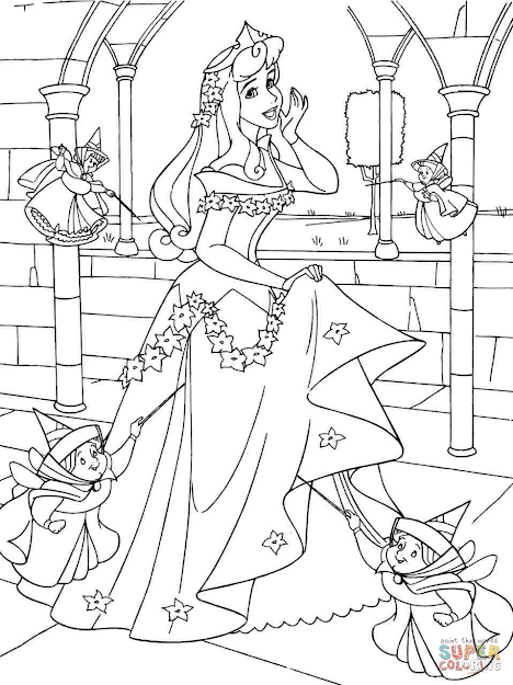Click The Princess Aurora With Good Fairies Coloring Pages To View  Printable Version Or Color It Online Patible With Ipad And Android  Tablets