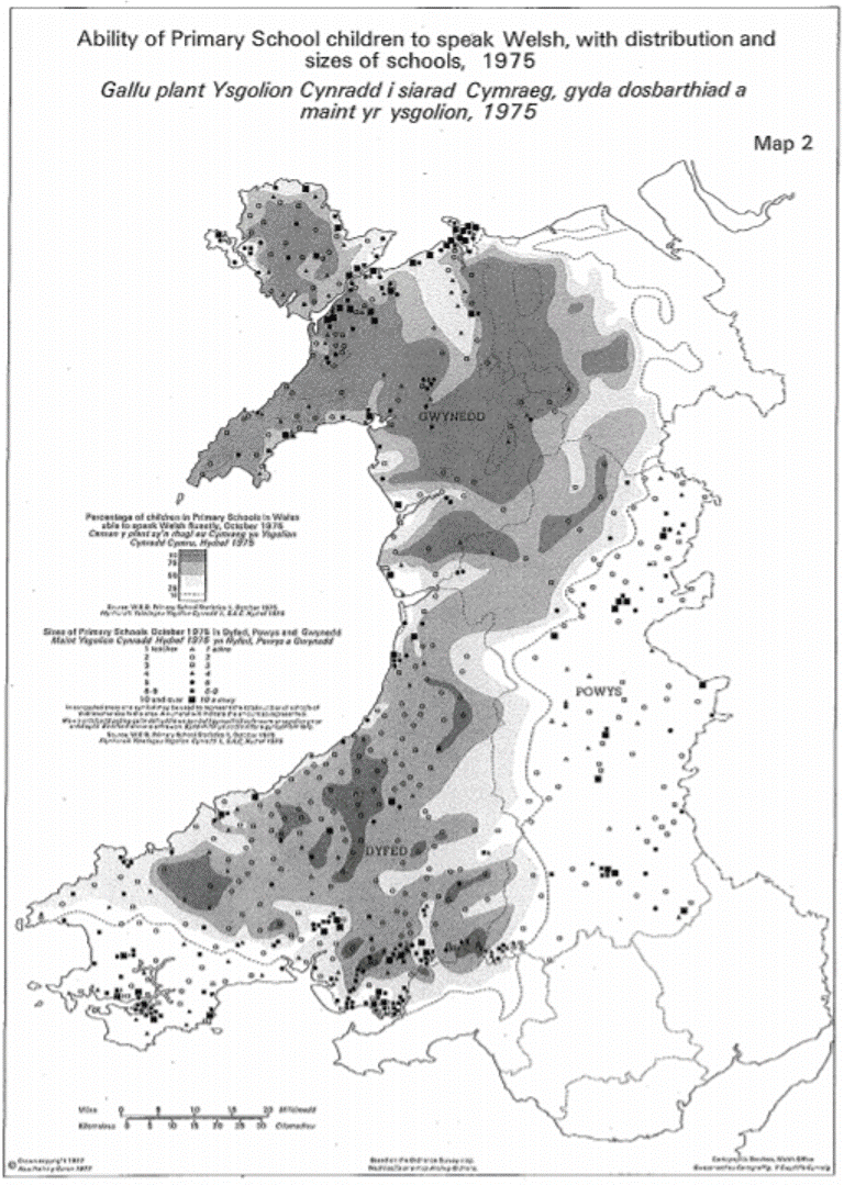 Politics By Rebuttal The Collapse Of Welsh In Ceredigion And - Welsh language map