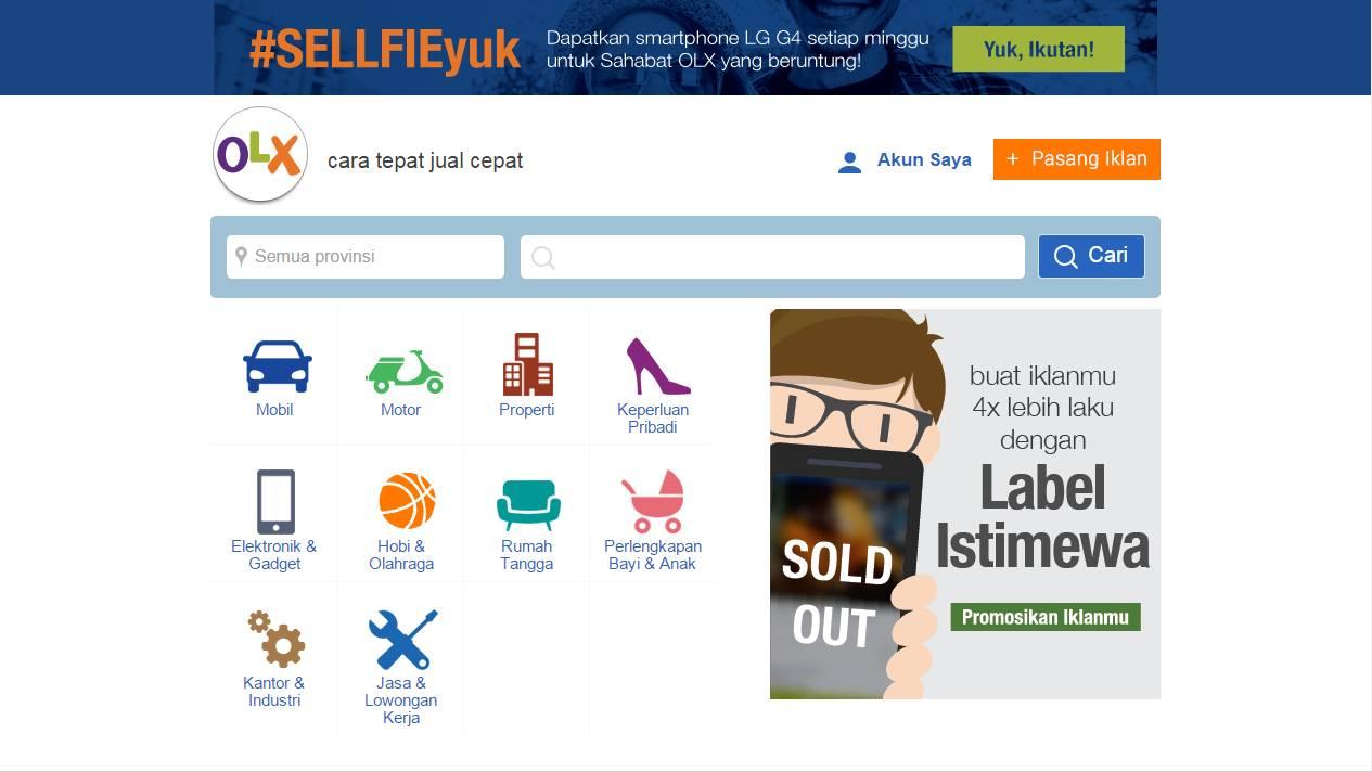 Tampilan OLX.co.id