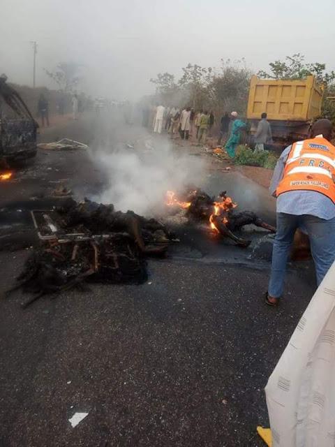 Graphic: 16 persons burnt to death in fatal Minna-Bida road crash