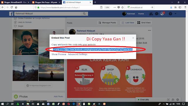 Cara Mengcopy Link Status FB