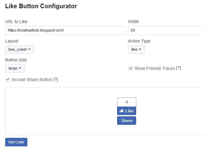 Facebook Like Button Configurator for Blogger