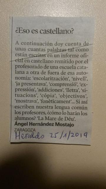 Àngel Hernández Mostajo, Zaragoza, eso es castellano ?