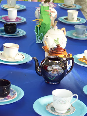 Mad Hatter Tea Party table at our Alice in Wonderland Birthday Party