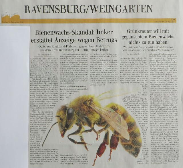 Βόμβα: Στην Γερμανία μιλάνε για σκάνδαλο λόγω νοθείας κηρηθρών...90% απώλεια γόνου λόγω παραφίνης?