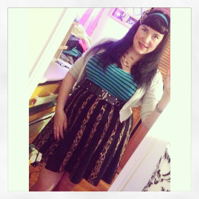 aafa0bd1fe7 Mixed Print Plus Size Pin Up Style Outfit with Turquoise Striped Tank Top  and Leopard Print