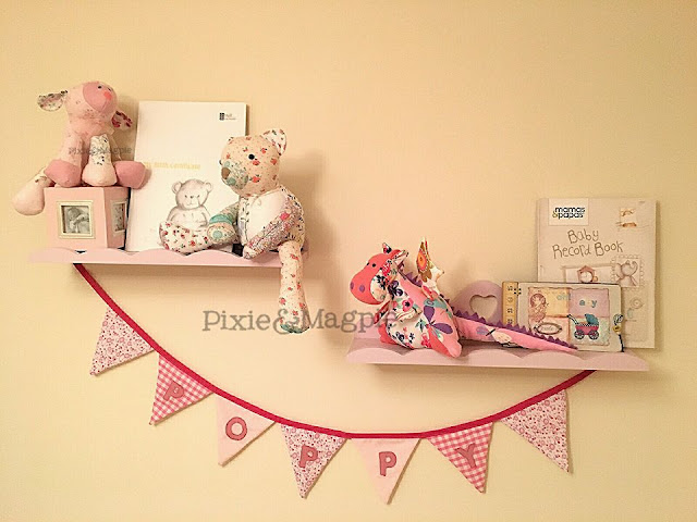 Pixie&Magpie handmade cuddly toys on floating shelves