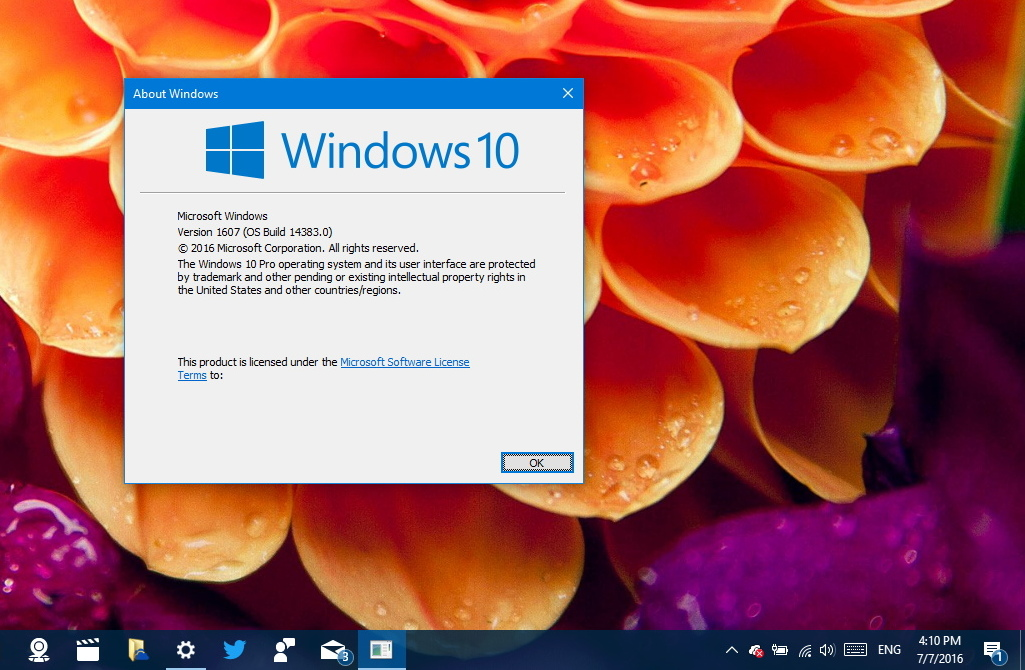 Windows 10 Anniversary Update in dirittura d'arrivo: build 14383 disponibile senza filigrana