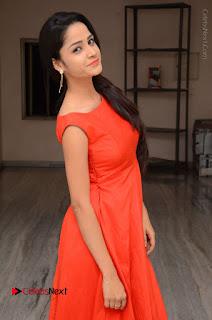 Telugu Actress Divya Nandini Stills in Orange Sleeveless Gown at Chennai Chaitrama Movie le Launch Event  0020.JPG