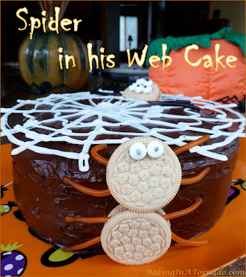 Spider in his Web Cake: cake, a web and a spider peeking through. Yup, it's October! | Recipe developed by www.BakingInATornado.com | #Halloween #cake