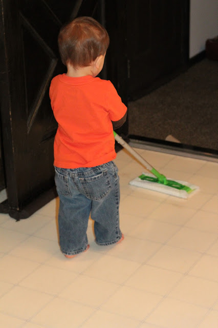 My 1 Year Old Does Chores