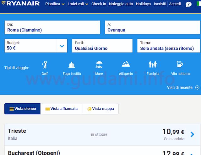 Ryanair Trova tariffe
