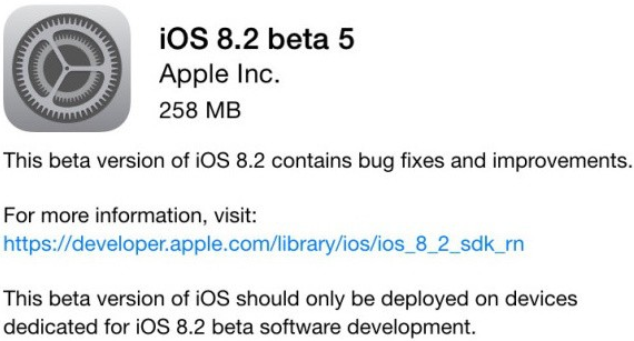 Apple iOS 8.2 Beta 5 OTA (12D5480a)