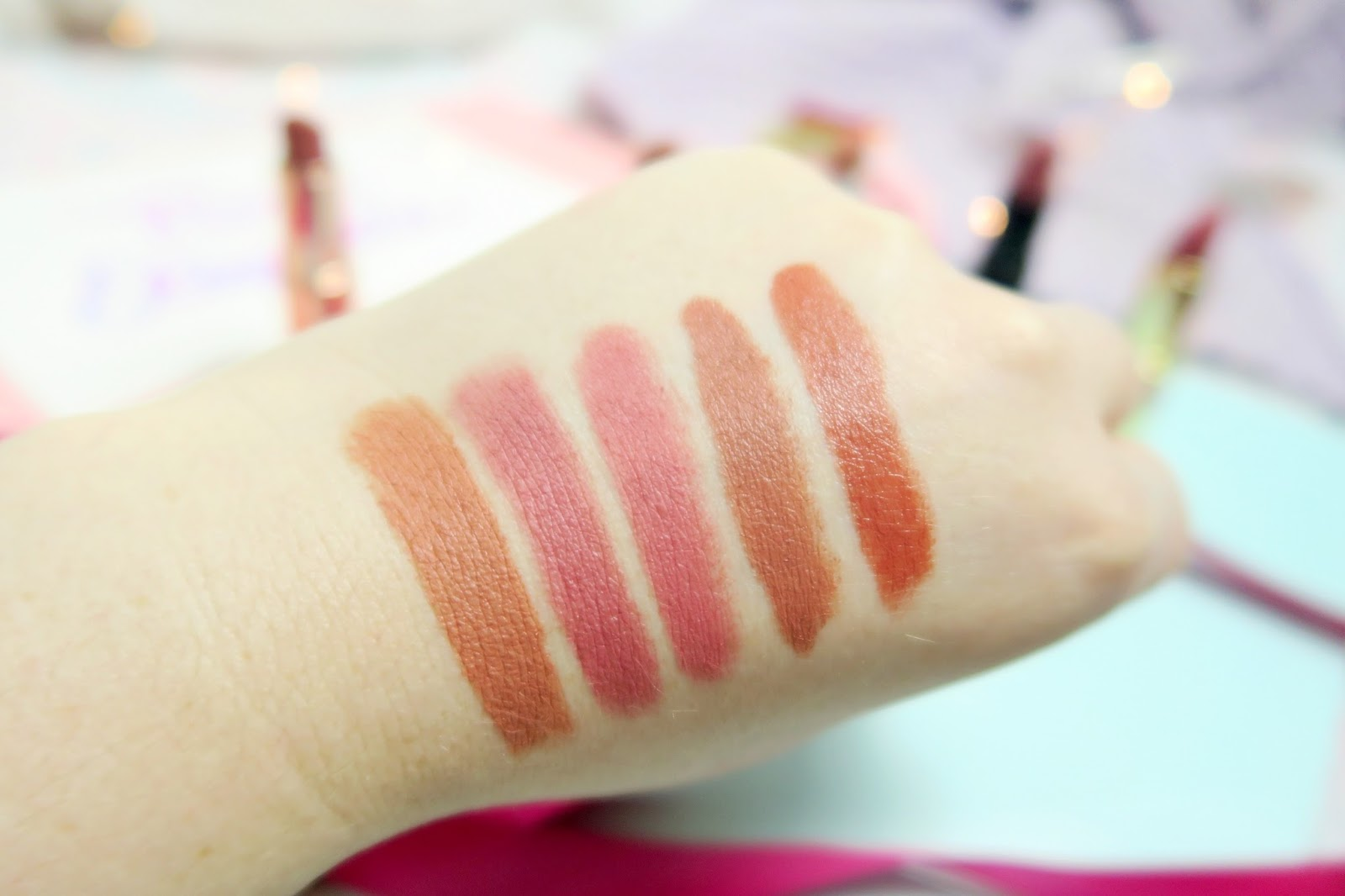 Trendsetter, Matt Rose, Vintage Rose, Velvet Teddy and Stoned Rose swatches