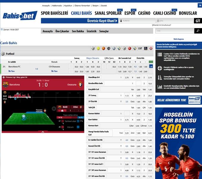 BahisBet Live Betting Screen