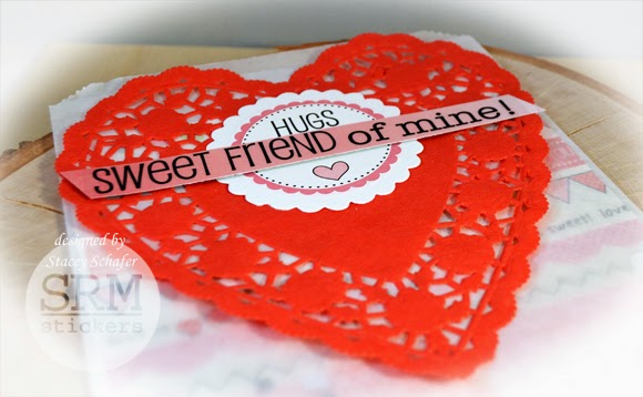 SRM Stickers Blog - Glassine Valentine Goody by Stacey - #valentine #card #glassine #bag #embossed #doilies #stickers #punchedpieces #labels